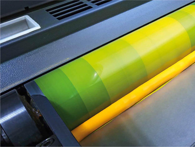 wałek z farbą, maszyna offsetowa, druk offsetowy